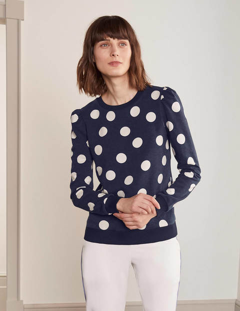 Puff Sleeve Sweatshirt - Navy, Spot Scatter