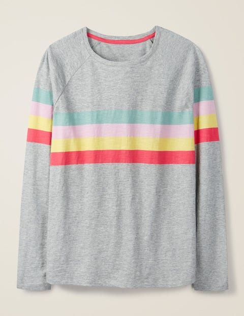 Lorna Baseball Jersey Tee - Grey Marl, Rainbow Stripe