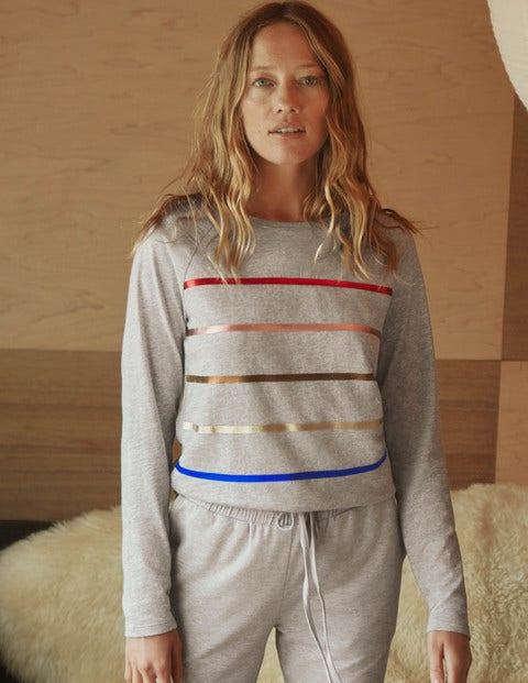 Lorna Baseball Jersey Tee - Grey Marl, Foil Stripe