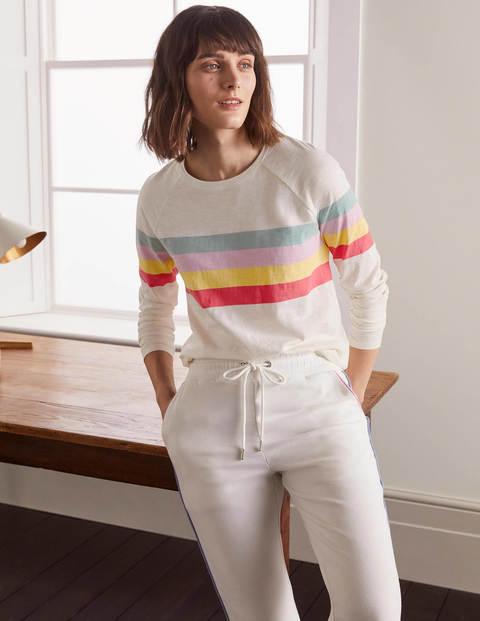 Lorna Baseball Jersey Tee - Ivory, Rainbow Stripe