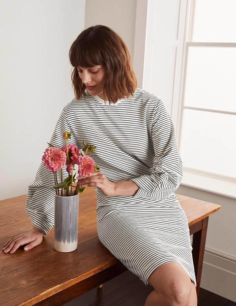 Verity Sweatshirt Dress - Ivory/Navy