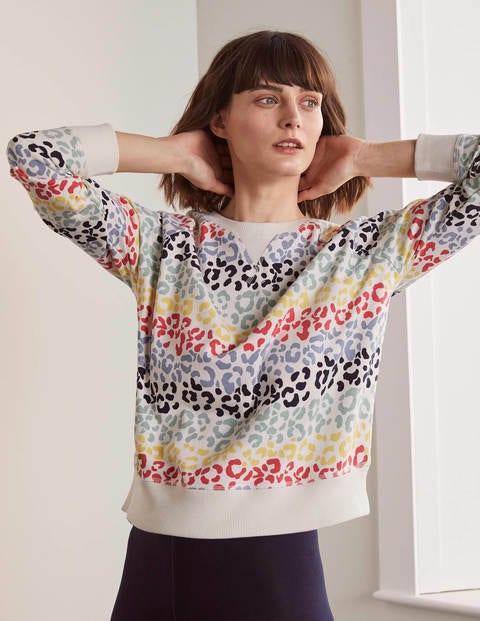 Ava Sweatshirt - Ivory, Rainbow Leopard