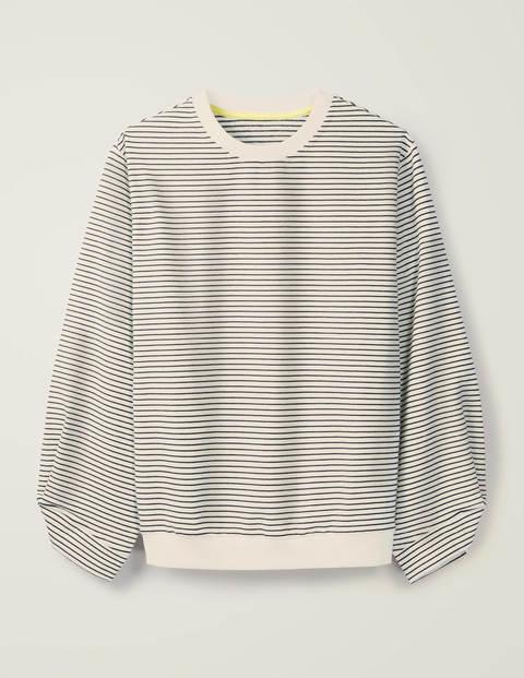 Verity Sweatshirt - Navy, Ivory, Skinny Stripe