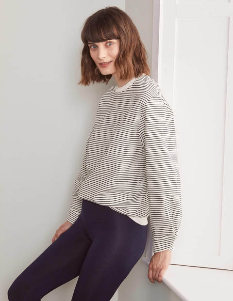 Verity Sweatshirt - Navy, Ivory, Skinny Stripe