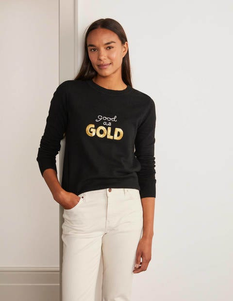 Pull Estella - Noir, motif Good as Gold