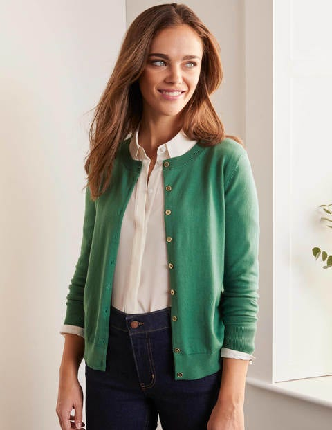 Eldon Cotton Crew Cardigan - Sage Green