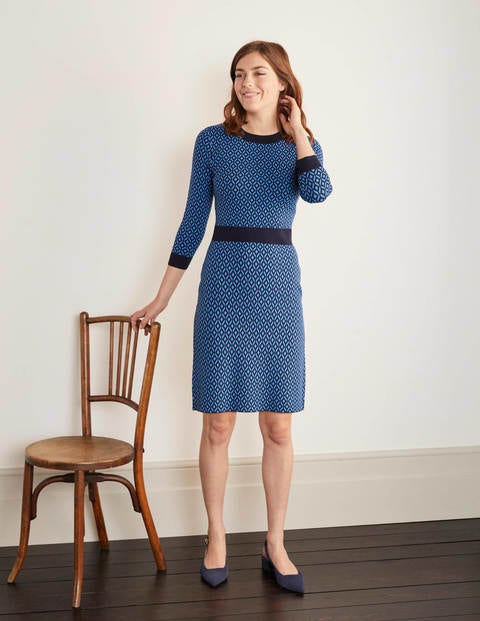 Phoebe Knitted Dress - Lomond Blue, Diamond