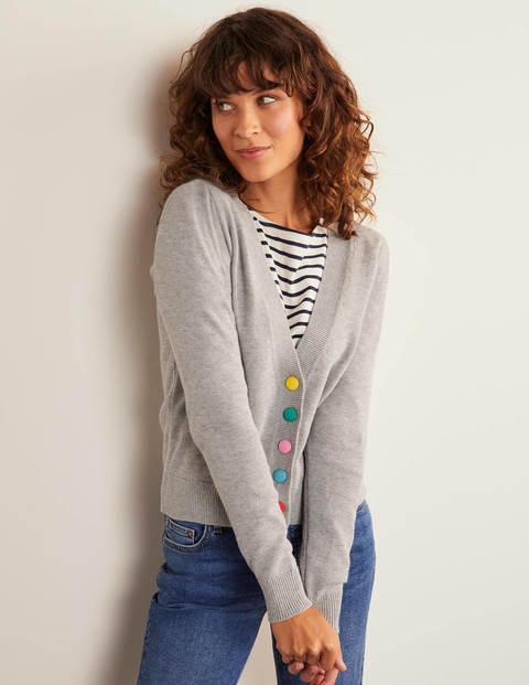 Allendale Button Cardigan - Grey Melange