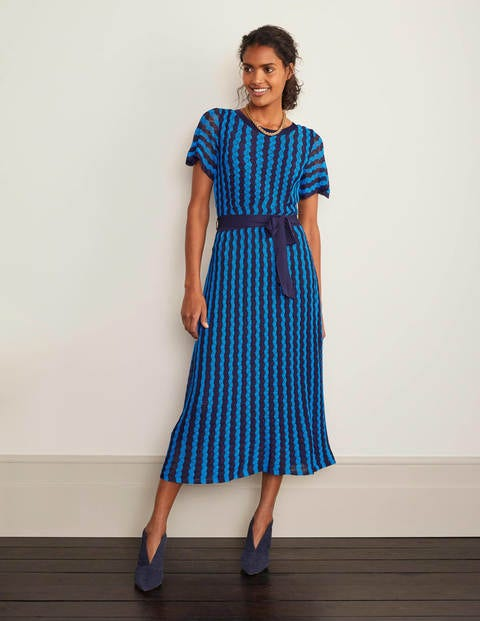 Rowan Pointelle Knitted Dress - Moroccan Blue and Navy Stripe