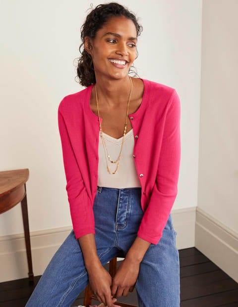 Cashmere Crop Cardigan - Carnival Pink