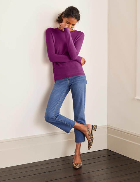 Cashmere Crew Neck Sweater - Jewel Purple