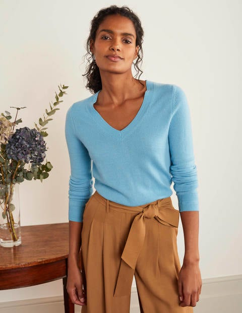 Cashmere V-neck Sweater - Lomond Blue