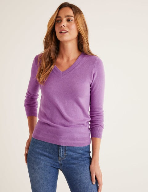 Cashmere V-neck Sweater - Lupin