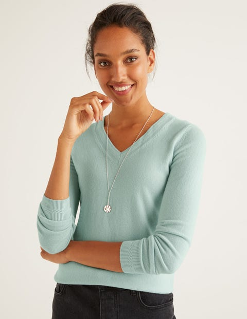 Cashmere V-neck Sweater - Mint Cake