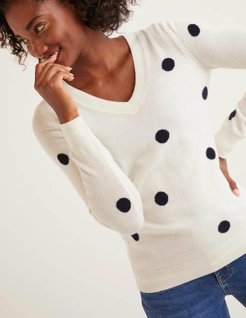 Cashmere V-neck Sweater - Ivory/Navy Spot