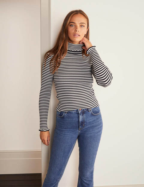 Frill Cotton Roll Neck Jumper - Navy, Ivory Stripe