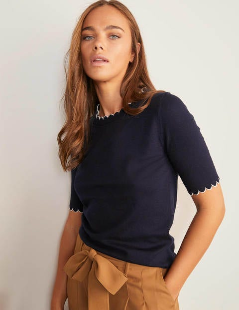Suffolk Scallop Knitted Tee - Navy