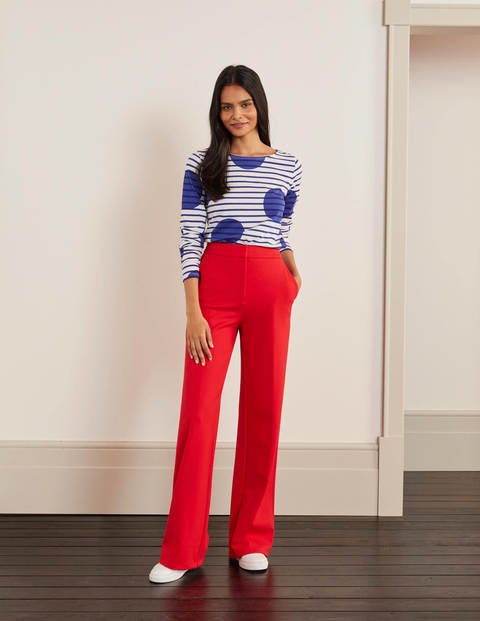 Hampshire Ponte Wideleg Pants - Red