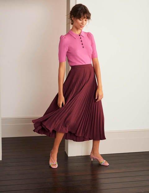 Kristen Pleated Skirt - Maroon