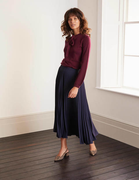 Kristen Pleated Skirt - Navy