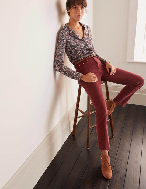 Cord Slim Straight Jeans - Maroon