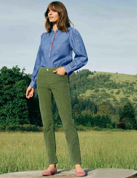 Cord Slim Straight Jeans - Field Green