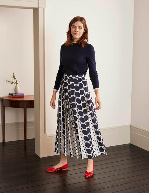 Philippa Midi Skirt - Ivory and Navy Spot