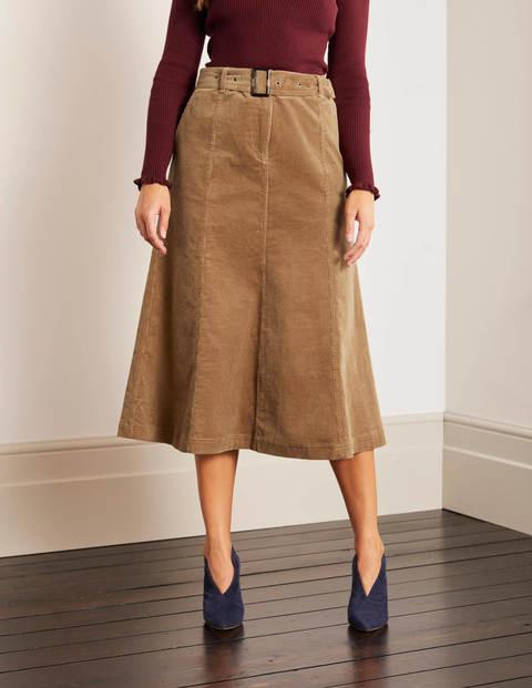 Everdene Midi Skirt - Camel Cord