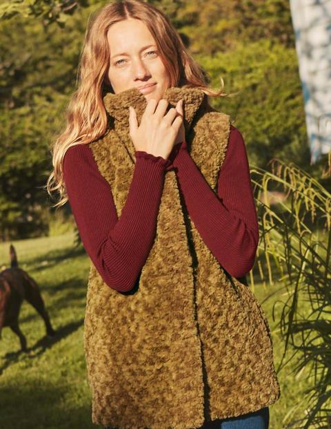 Haddon Faux Fur Gilet - Camel