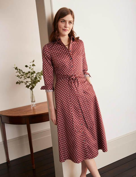 Isodora Midi Shirt Dress - Maroon, Regular Dot