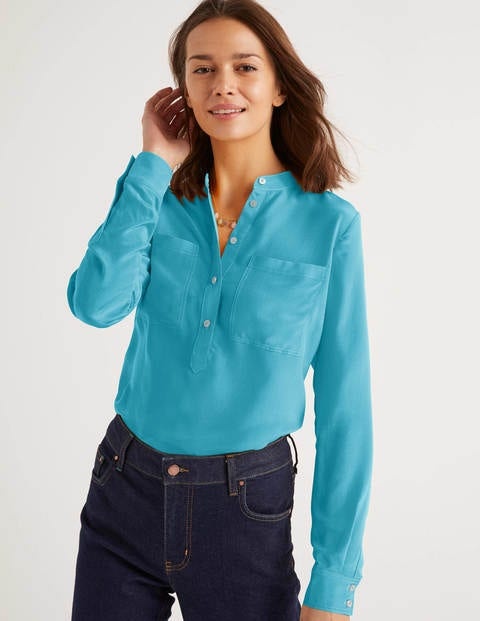 Silk Collarless Blouse
