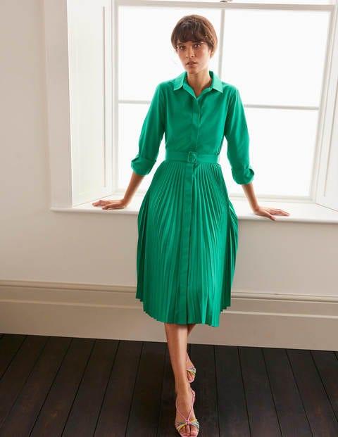 boden - Alma Hemdblusenkleid mit Plisseefalten Green Damen , Green