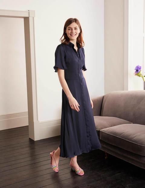 Olive Shirt Dress - Navy