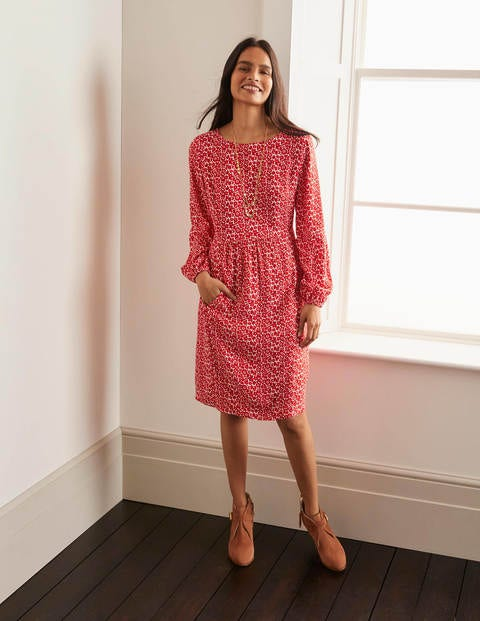 Serena Dress - Cherry Red, Ditsy Pop Small