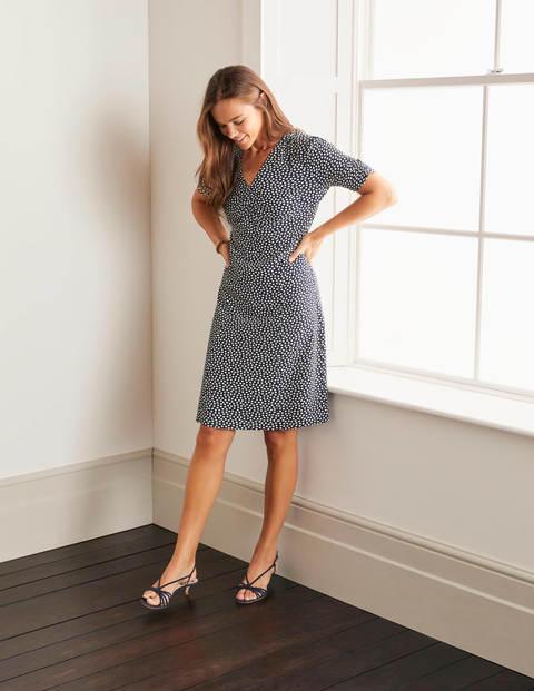 Jemima Ruched Dress - Navy, Speckle Spot