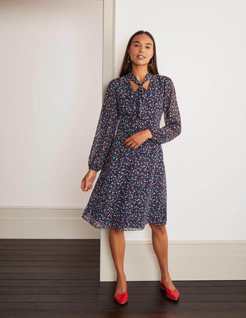 Imogen Dress - Black English Ditsy