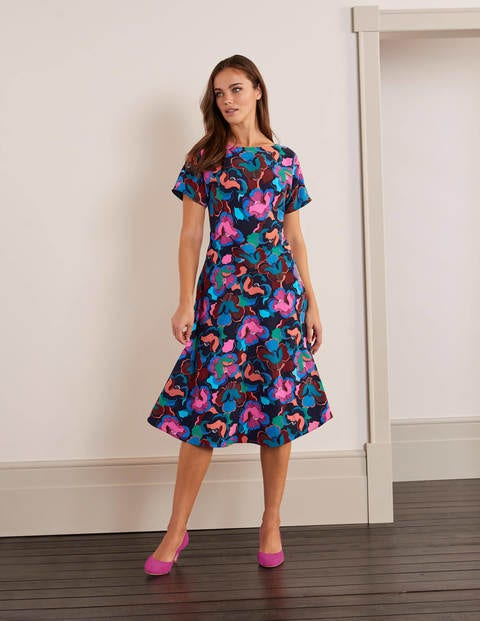 Cynthia Dress - Navy, Chelsea Bloom