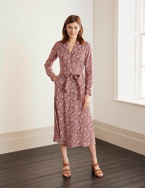 Otillie Shirt Dress - Maroon, Ripple Wave