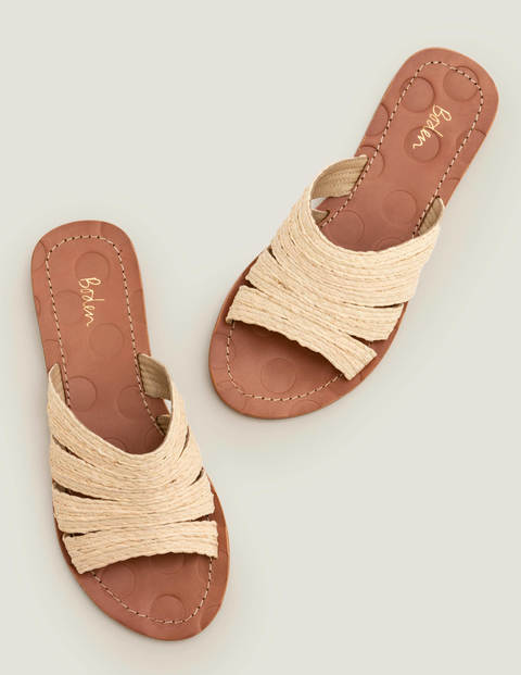 Leonora Raffia Slides - Natural