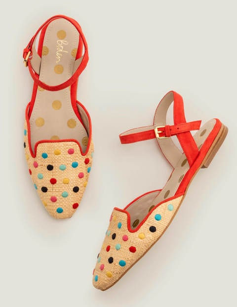Miriam Raffia Flats - Multi Spot/ Post Box Red