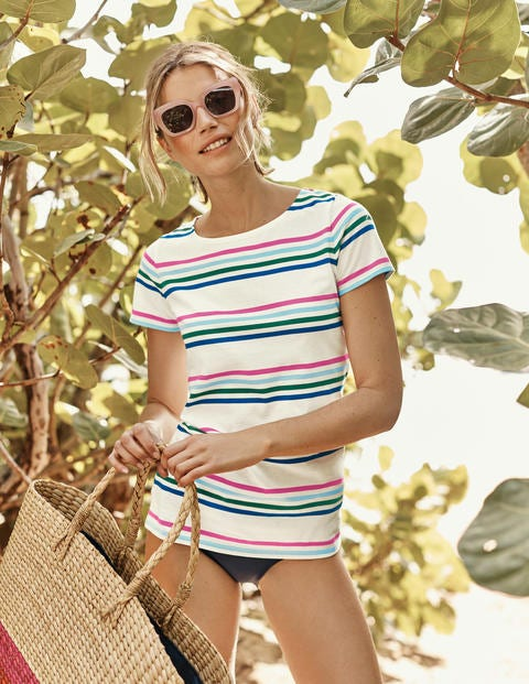 Short Sleeve Breton - Bold Blue/Pink Multi