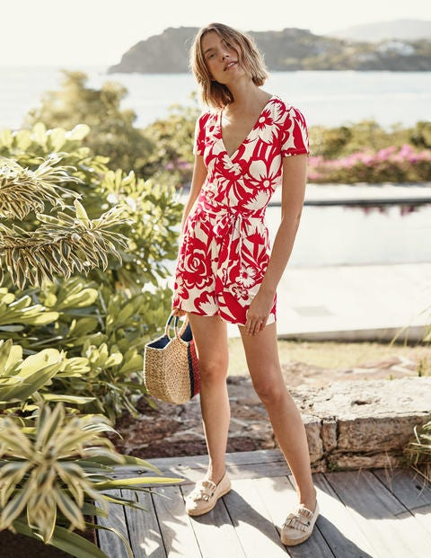 Combishort Caroline en jersey - Rouge, motif Tropical Bloom