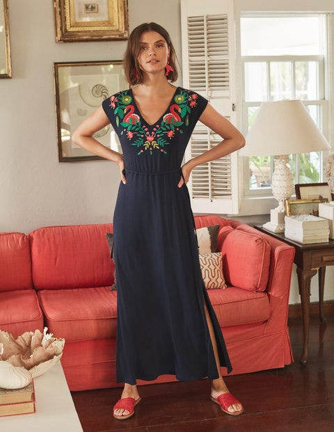 Marcia Embroidered Maxi Dress - Navy