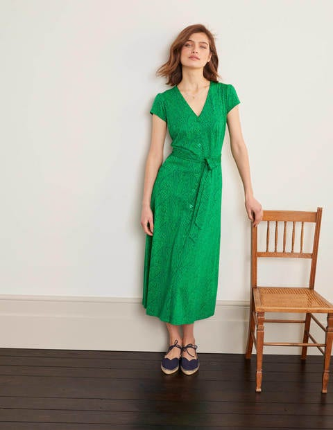 Frances Jersey Midi Dress - Rich Emerald, Tropical Leaf
