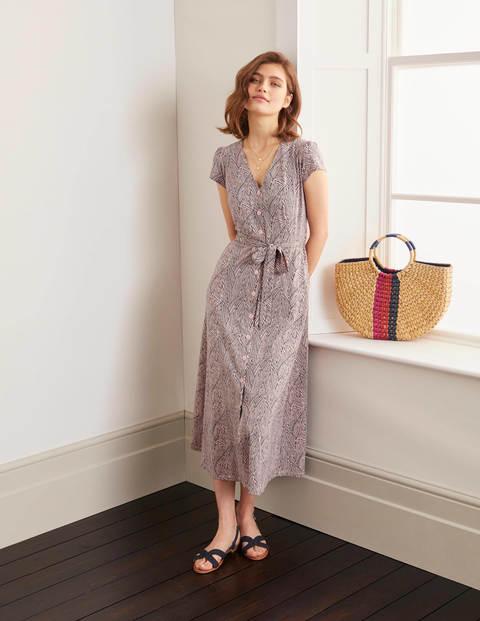 Frances Jersey Midi Dress - Milkshake, Tropical Leaf