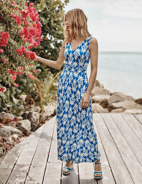 Sienna Jersey Maxi Dress - Bold Blue, Tropical Stamp