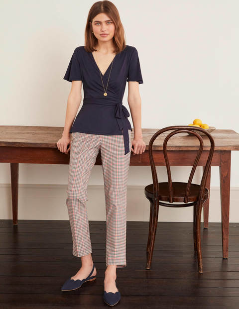 Cassia Jersey Wrap Top - Navy