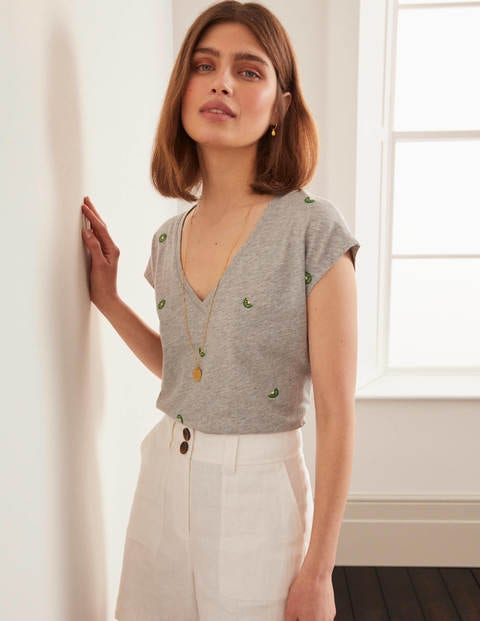 Robyn Embroidered V-neck Tee - Grey Marl, Embroidered Kiwi's