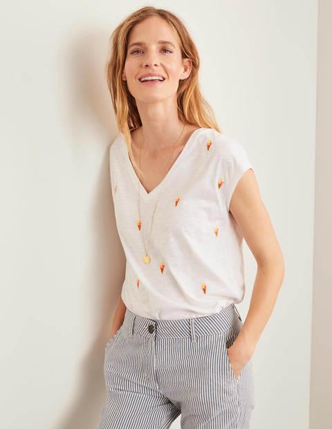 boden - Robyn Besticktes T-Shirt mit V-Ausschnitt White Damen , White