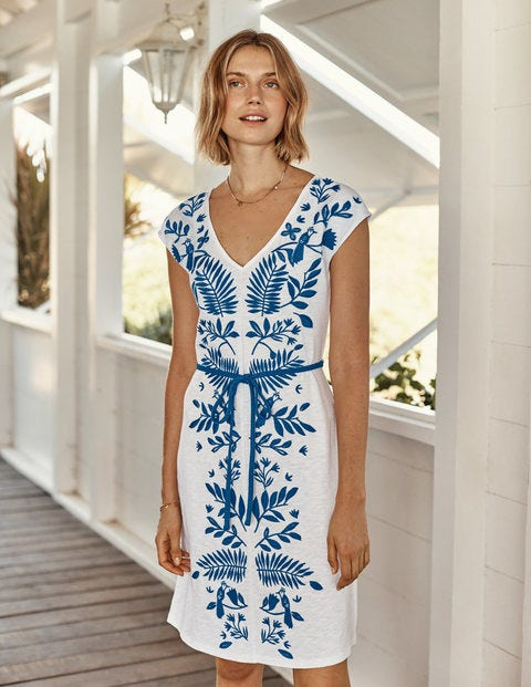 Tanya Embroidered Jersey Dress
